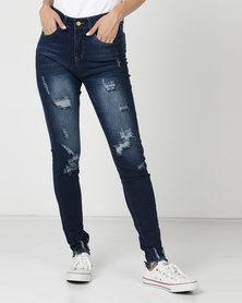 Utopia Ripped Skinny Leg Jeans Mid Wash
