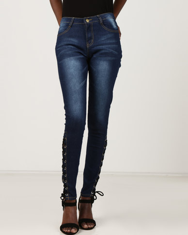 Utopia Skinny Jeans With Lace Up Detail Indigo