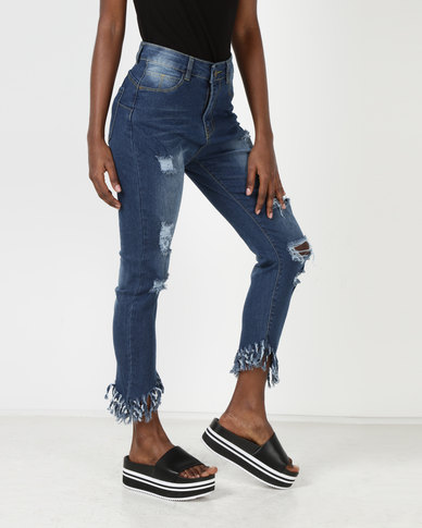 Utopia Ripped Skinny Jeans With Frayed Hem Light Wash