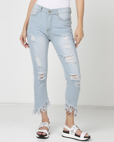 Utopia Ripped Skinny Jeans With Frayed Hem Mid Wash