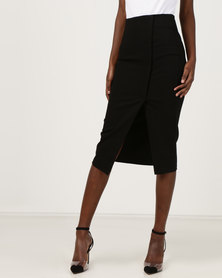 Utopia Wrap High Waisted Pencil Skirt Black