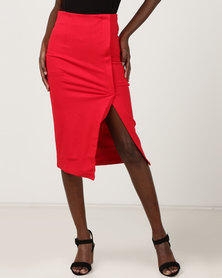Utopia Wrap High Waisted Pencil Skirt Red