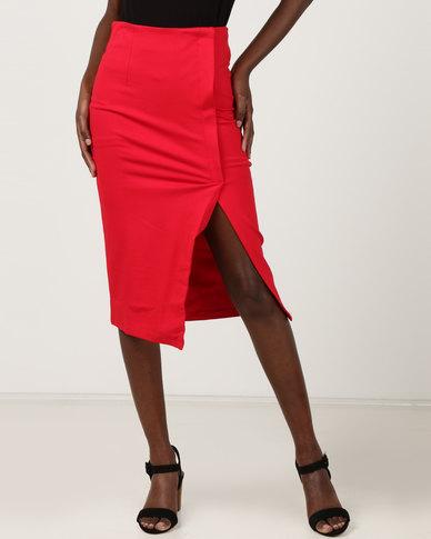 71fec372e6 Utopia Wrap High Waisted Pencil Skirt Red | Zando