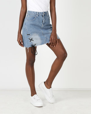 Utopia A-line Denim Skirt With Lace Up Detail Blue