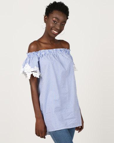 Utopia Bardot Tunic With Embroidery Blue/White Stripe