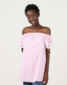 Utopia Bardot Tunic With Embroidery Pink/White Stripe