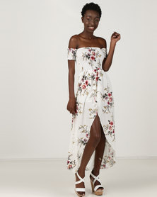 Utopia Shirred Maxi Wrap Dress Multi Print