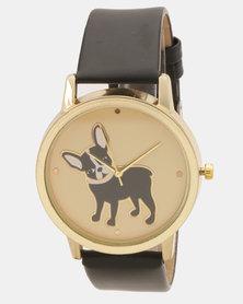 Utopia Pug Print Watch Black
