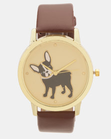 Utopia Boston Terrier Print Watch Brown