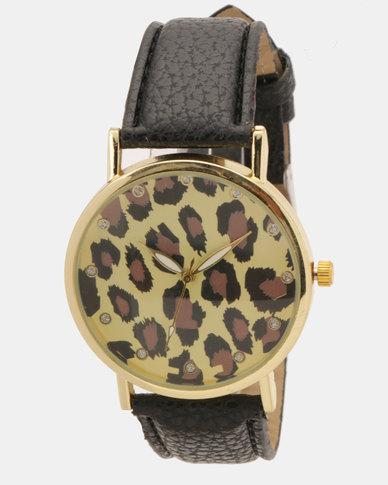 Utopia Leopard Print Watch Black