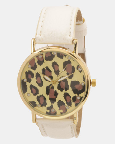 Utopia Leopard Print Watch White
