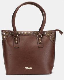 Plum Accessories Ruby Stud Tote Handbag Brown