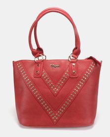 Plum Accessories Ruby Stud Tote Handbag Red