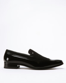 Gino Paoli Two Tone Wingcap Slip On Black