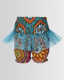 Kieke Print Bubble Shorts With Frill Teal Multi