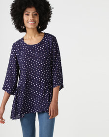 Elm Liberty Top Navy & Pink Spot