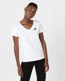 Nike NSW LBR V-Neck Tee White/Black