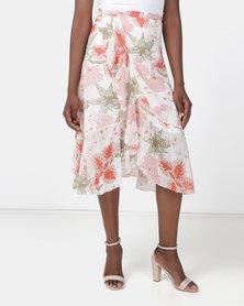 Utopia Printed Wrap Skirt Stone Strelitzia