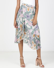 Utopia Printed Wrap Skirt Green Strelitzia