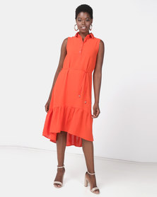 Utopia Kick Ruffle Button Down Maxi Tangerine