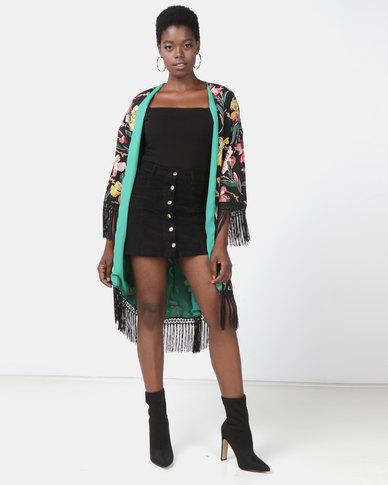 Utopia Kimono With Fringes Black Printed