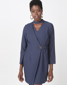 Utopia Choker Wrap Dress Navy