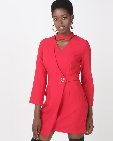 Utopia Choker Wrap Dress Red