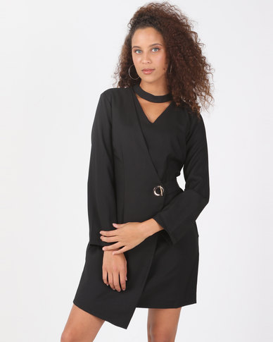 Utopia Black Choker Wrap Dress