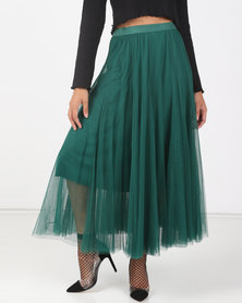 Utopia Pine Green Volume Layer Tulle Skirt
