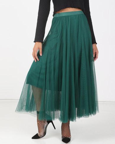 Utopia Pine Green Volume Layer Tulle Skirt