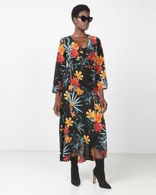 Utopia Kimono Sleeve Wrap Dress Black Tropical