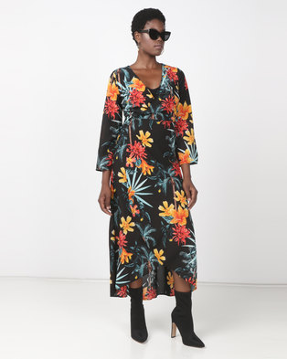Utopia Kimono Sleeve Wrap Dress Black Tropical