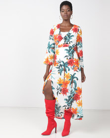Utopia Kimono Sleeve Wrap Dress White Tropical