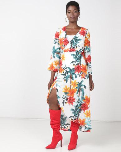 Utopia Kimono Sleeve Wrap Dress White Tropical