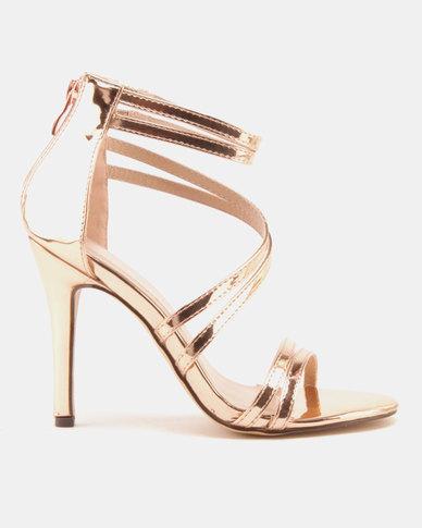 Sissy Boy Strippy Heeled Sandals Rose Gold