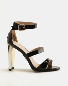 Sissy Boy Gilt Heel 3 Strap Heeled Sandals Black