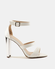 Sissy Boy Gilt Heel 3 Strap Heeled Sandals White