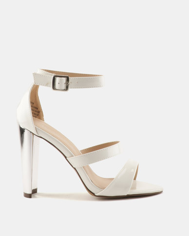 Sissy Boy Gilt Heel 3 Strap Heeled Sandals White