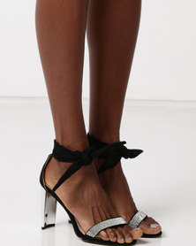 Sissy Boy Gilt Heel Diamante Bandage Sandals Black