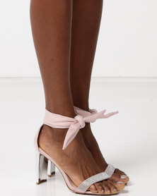 Sissy Boy Gilt Heel Diamante Bandage Sandals Pink