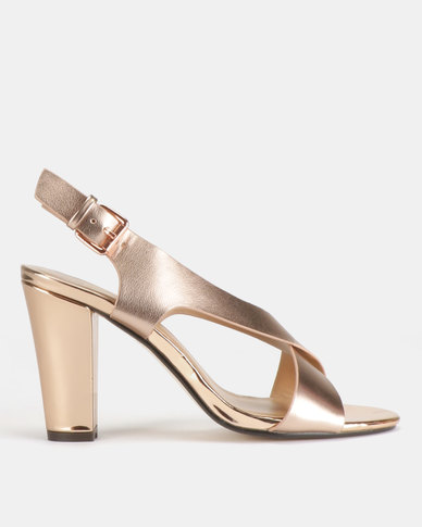 5491f4d00 Gino Paoli Cross-Over Heeled Sandals Rose Gold