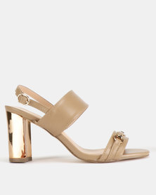 Gino Paoli Double Bandage Gold Block Heel Sandals Taupe