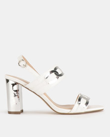 Gino Paoli Metallic Block Heel Double Bandage Sandals White