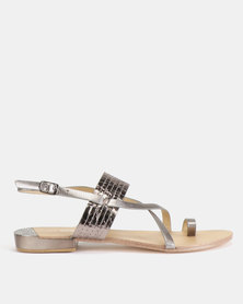Gino Paoli Cross Over Thong Sandals Pewter