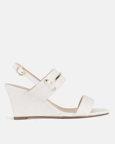 Gino Paoli Double Bandage Wedge Sandals White