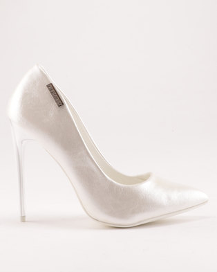 6a06436c436f Sissy Boy Court with Gold Inlay Detail Heels White
