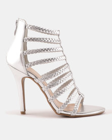 Sissy Boy Plaited Cage Heeled Sandals Silver