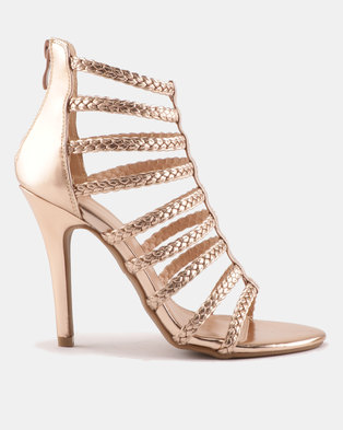 Sissy Boy Plaited Cage Heeled Sandals Rose Gold