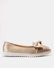 Solle Bow Trim Flats Rose Gold