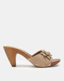 Solle Floral Slip on Heels Taupe PU